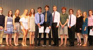 Left to Right: Michael Nolan (Hugh Gilchrist Dickson Memorial Bursary), Baillie Lynds (Student Council Leadership Award – Grade 10), Maddie Greatorex (Ernest H. Abbott Award – Grade 10), Charleigh Marshall (Rick Hansen School Program Award), Tara Cashen (Jean Muir Award and Student Council Leadership Award – Grade 11), Quinn Alexander (Brian Scallion and Dianne Powell Scholarship), Thomas Vickers (Ernest H. Abbott Award – Grade 10), Lorne MacLean (Ernest H. Abbott Award – Grade 11), Kevin Farrell (Student C